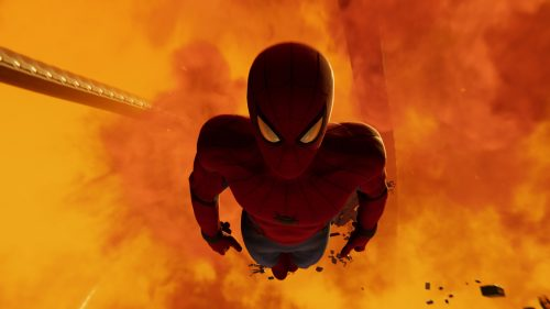 Spider man falls into fire 500x281 Spider man falls into fire