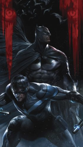 batman and nightwing in the batcave 281x500 batman and nightwing in the batcave