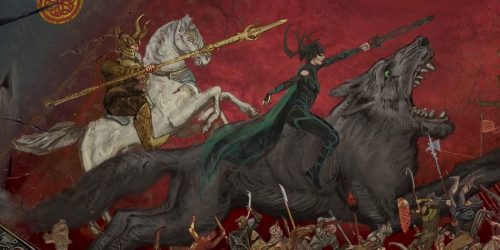 Odin and Hela riding into battle 500x250 Odin and Hela riding into battle