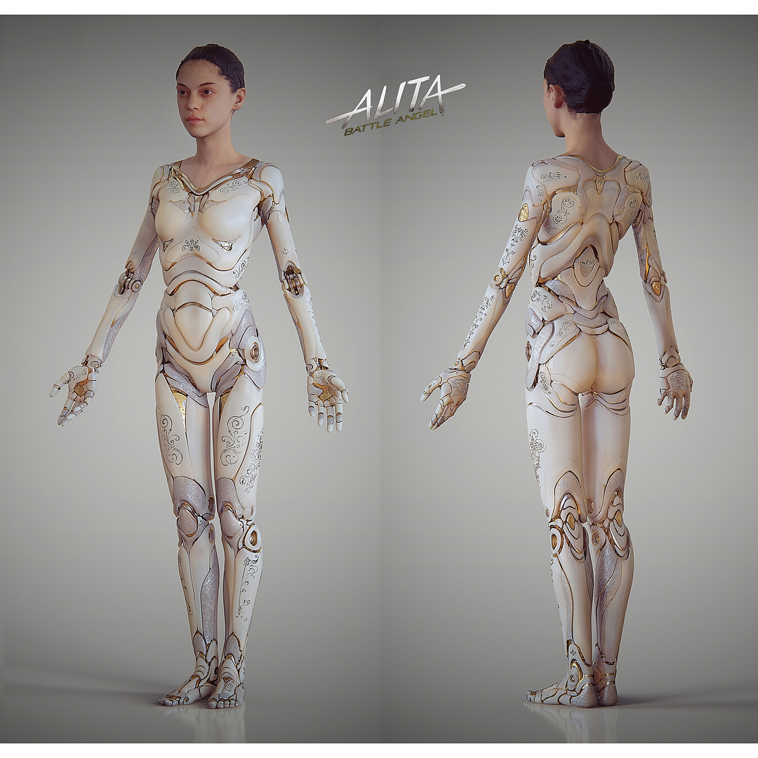 """Vitaly Bulgarov on Instagram: """"Last post on Alita's """"doll"""" body before moving onto Berskerer designs! Here are a few full body and leg images for the more final concept…"""""""