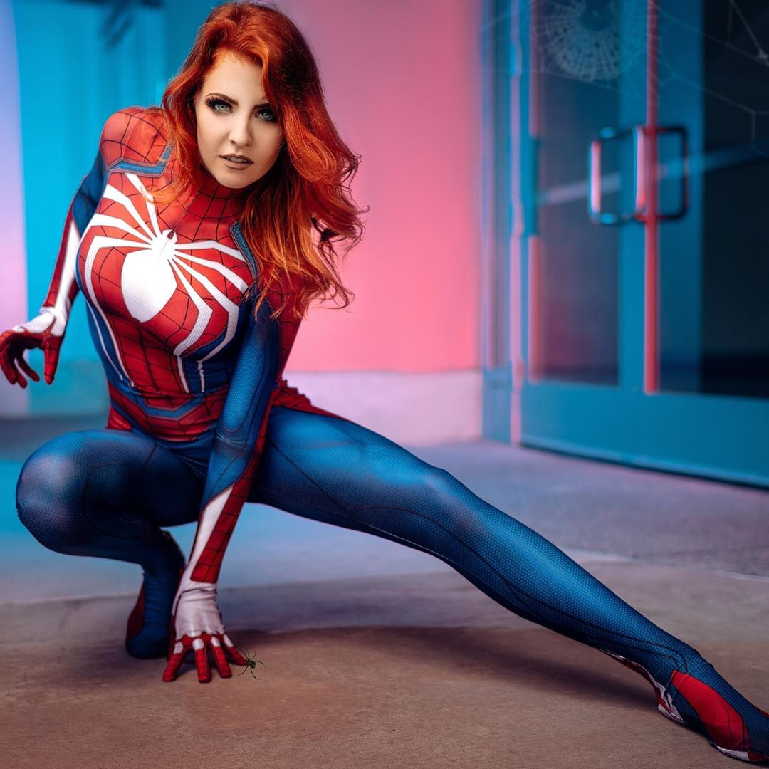 "Jessica on Instagram: ""It runs in the family…❤️🕷(📸: @adventureepic_photography) Suit by @therpcstudio #spidermanps4 #maryjanewatson #spidermancosplay"""