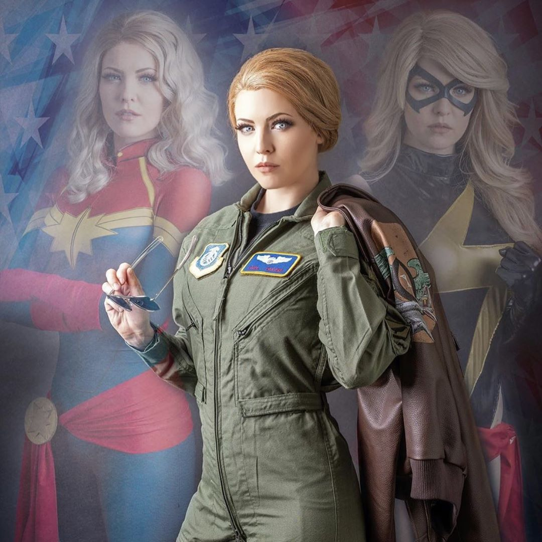 """Jessica the Maid Of Might on Instagram: """"This isn't about fighting wars. It's about ending them. 🌌👊💥 (📸:@johnnyporsche) Flightsuit by @stitchsloft 🙌 #captainmarvelcosplay…"""""""
