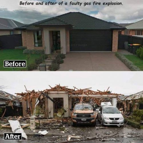 Before and After a faulty gas explosion 500x500 Before and After a faulty gas explosion
