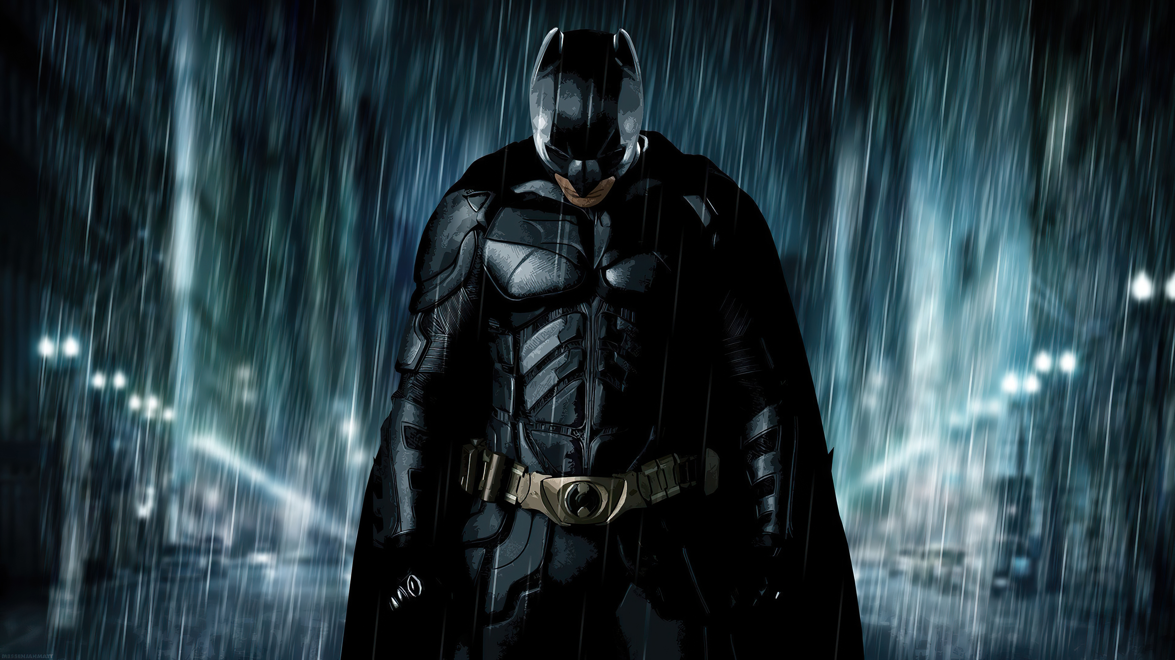 batman is rained upon