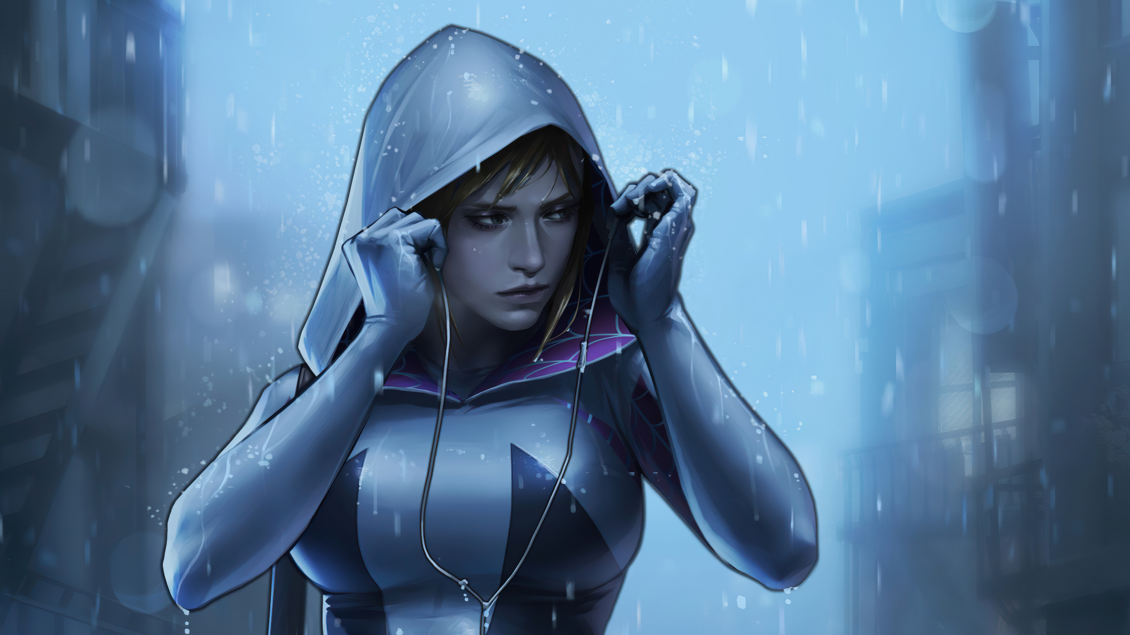 Spider-Gwen in the rain with music